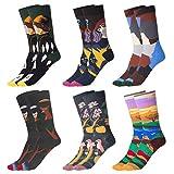 Wodasi Estampados Hombres Ocasionales Calcetines, 6 Pares de Calcetines Estampados Colores Hombres Mujeres Termicos Invierno Divertidos Calcetín de Algodón Unisex, 37-43