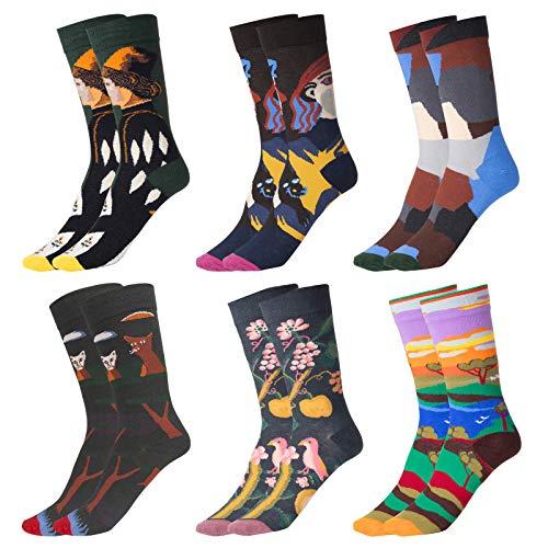 Wodasi Lustige Socken Damen Herren Witzige Strümpfe, 6 Paar Lustige Damen Socken, Socken Kunst, Bunte Baumwolle Socken Lustigem Fantastisch Muster Glücklich Sock Crew