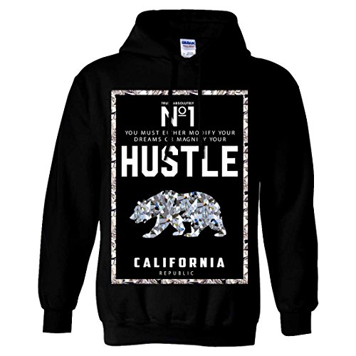 California Republic No. 1 Diamond Hustle Sweatshirt Hoodie - Black Large