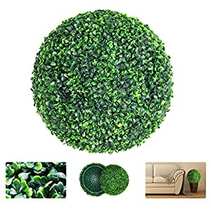 VegasDoggy 1 PCS 15.7 Inch Artificial Boxwood Ball Topiary – 4 Layers Faux Plants Decorative Balls UV Protected for Indoor, Outdoor, Garden, Wedding, Balcony, Backyard and Home Decorative