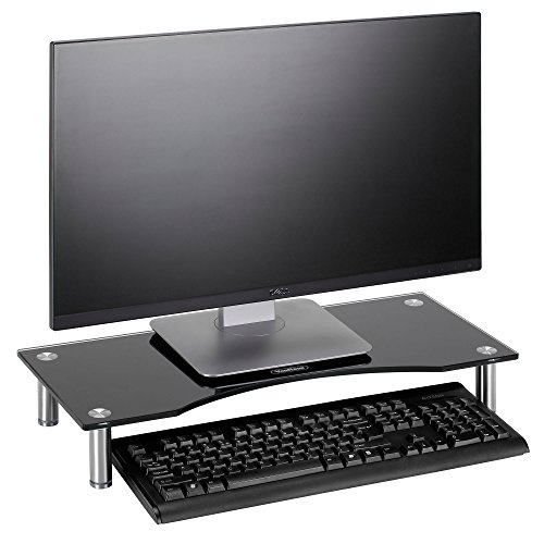 VonHaus Monitor Stand for Desks - Height Adjustable - Screen Riser for Computers, Laptops & TVs - Black Curved Glass with Aluminium Legs - Designed for Home or Office - 56 x 24cm
