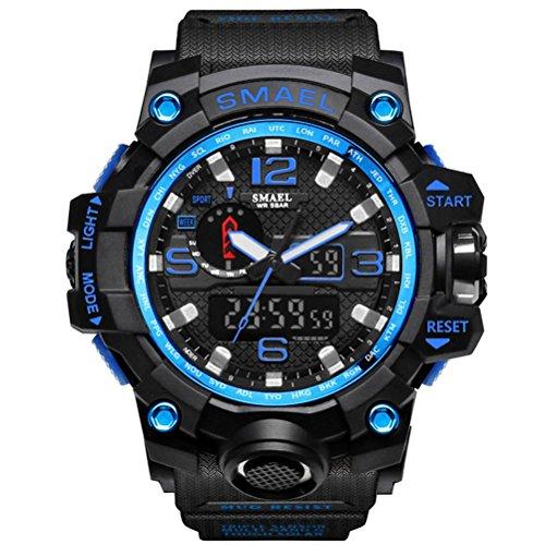 ZXZ-GO Sehen Sie Multifunktions-Zeit Wasserdichte Kalender Männer Dual-Display Sport LED elektronische Uhr, Dark Blue