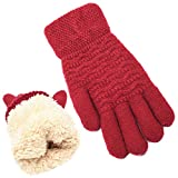 Women's Winter Warm Touch Screen Gloves Womens Thermal Red Cable Knit Wool Fleece Lined Touchscreen Texting Mittens for Cold Weather