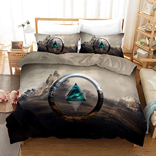 Duvet Cover Bedding Set White gray black brown mountain scenery King 94.5 x 86.7 inch Ultra Soft Easy Care With–Hotel Quality Bedding Sets 2 Pillowcase19.68 x 29.53 inch