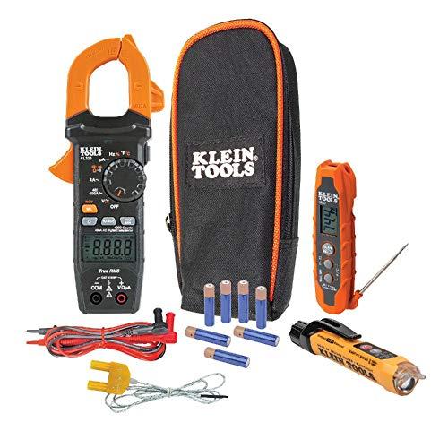 Kit para pruebas de HVAC; multímetro de gancho digital, probador de voltaje sin contacto y termómetro infrarrojo - CL320KIT Klein Tools
