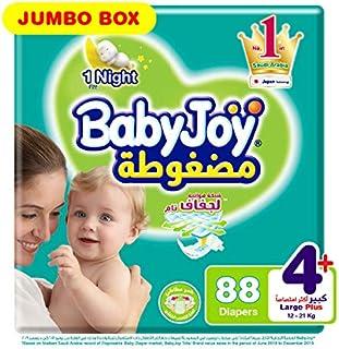 Babyjoy Compressed Diamond pad Diaper, Jumbo Box Large + Size 4+, Count 88, 12 - 21 KG