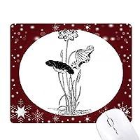 ハスの花の水の白と黒の植物 オフィス用雪ゴムマウスパッド