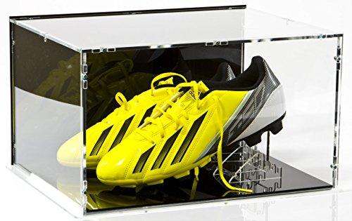 Sora Vetrina espositiva per Coppia di Scarpe da Calcio/Scarpe con Base Nera, Pannello Posteriore Nero e Supporti per Scarpa