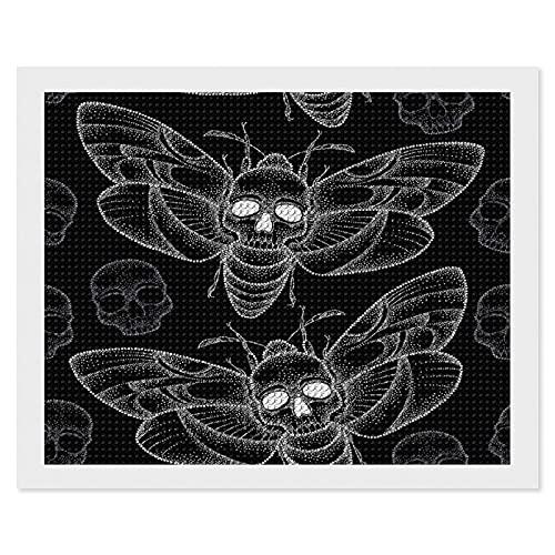 Kit de pintura de diamantes para adultos,Death 's Head Hawk Moth o Acherontia Atropos en blanco y calaveras bricolaje 5D diamante redondo bordado