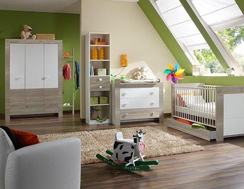 lifestyle4living Babyzimmer, Kinderzimmer, Komplett-Set, Babymöbel, Junge, Mädchen, Kleiderschrank, Wickelkommode, Babybett, weiß, Sägerau, Eiche, Sonoma