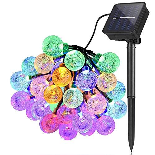 Solar Lichterketten Draussen Garten, 6,5 m 30 LED Wasserdicht Lichterketten Globus Kristallkugel Dekor Festival Bunt Licht für Party Hochzeit Terrasse Weihnachten Dekoration (Mehrfarbig)