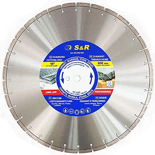 S&R Diamant-Trennscheibe 450 x 25.4 x 3.0 x 10 mm, Diamanttrennscheibe für Naturstein, Kunststein, Marmor, Granit, Sandstein, Hartziegel, heißgepresst, für Motortrennsägen und Tischsägen