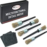 Master Detailing Brush Set, 5 Different Brush Sizes & Microfiber Towel, Premium Natural Boar Hair, Plastic Handle, No Shed Bristles, for Cleaning Engine, Wheel, Interior, Air Vent, Car, Motorcycle