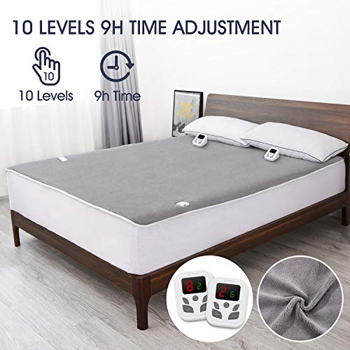 Heated Mattress Pad Underblanket Dual Controller for 2 Users Soft Flannel 10 Heating Levels & 9 Timer Settings Fast Heating, King