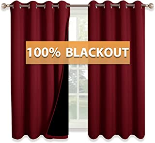 RYB HOME Complete Blackout Draperies with Black Liner for Kids Nursery Room, Energy Efficient Country Curtains Wall Panels for Hall Studio Apartment Decor, W 52 x L 63, Burgundy Red, 2 Panels