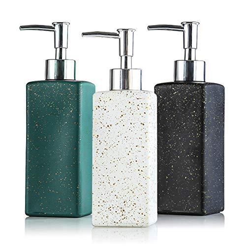 Fari, dispenser per sapone per mani e piatti, 3 confezioni da 350 ml, quadrati, riutilizzabili, in vetro, per bagno, vanità, piano di lavoro e lavello da cucina (3 colori, 3)