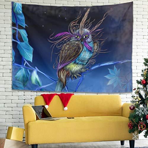 Tapiz de pared Fantasy Búho nocturno con impresión fotográfica, fondo de tela, multicolor, blanco, 100 x 150 cm