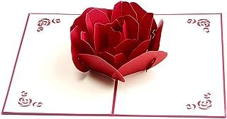 Paper Spiritz グリーティングカード「ローズ」 立体ポップアップカード バレンタインカード 誕生日カード クリスマス カード 感謝状 手作りのメッセージカード 母の日 結婚祝い 封筒付き