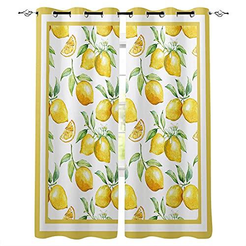 Cortinas de Ventana Blancas de Fruta de limón Amarillo, Cortina de Cocina para Sala de Estar, Dormitorio, Cortinas para niños, Tratamiento de Ventanas-S