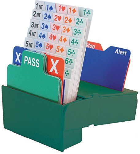 Jannersten Bid Buddy Bridge Bidding Boxes with Cards - Set of 4, Green