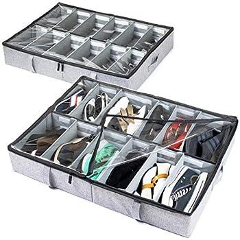 storageLAB Under Bed Shoe Storage Organizer Adjustable Dividers - Set of 2 Fits 24 Pairs Total - Underbed Storage Solution  Grey