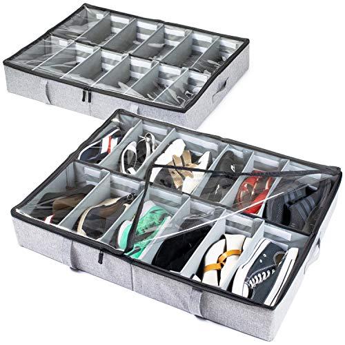 storageLAB Under Bed Shoe Storage Organizer  Adjustable Dividers - Set of 2  Fits 24 Pairs Total - Underbed Storage Solution (Grey)