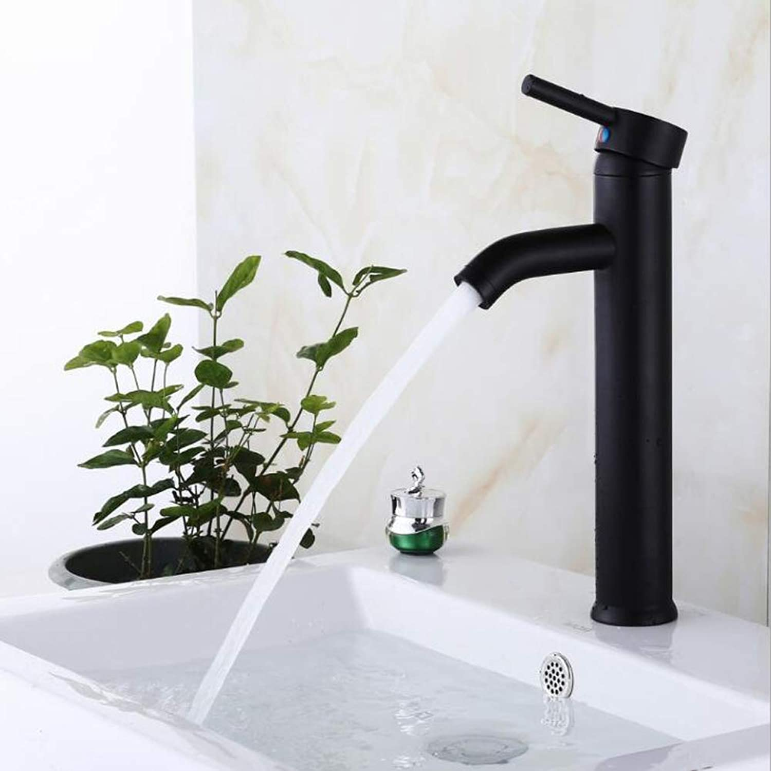 Black Solid Bathroom Sink Faucet Hot And Cold Water Basin Taps Brass Valve One Hole Hands free One Hole Chrome,Blackbasinmixer