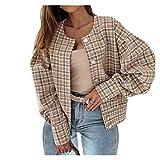 Abrigo de Primavera de Moda y cómoda Mujeres Spring Jacket Plaid Tweed Jackets Mujeres O-Cuello Soporte Manga Oficina Lady Coat Pearl Button Blusa Jailets Flowets Outerwear