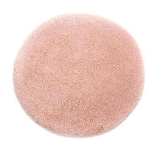 Kurzfell-Teppich Kunstfell Hasenfell Imitat | Wohnzimmer Schlafzimmer Kinderzimmer | Als Faux Bett-Vorleger oder Matte für Stuhl Hocker Sofa (Rosa, 60 cm - Rund)