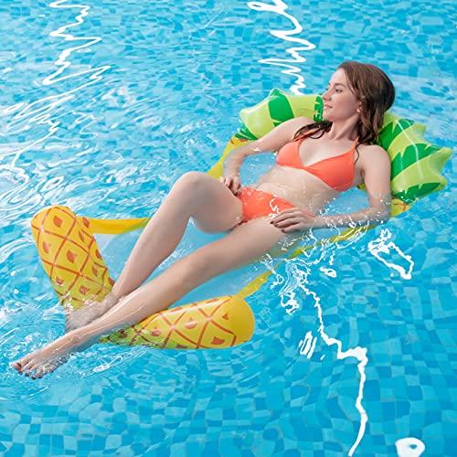 Myir JUN Flotador Piscina Adultos, Piña Hinchable Colchoneta con Rejilla Piscina Inchable Sillon Hinchable Playa Hamaca Flotante Hamaca de Agua (Piña)