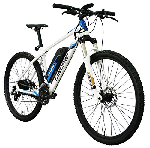 YANCPRO 27.5' 36V Mountain Electric Bike, 300W Adult Urban Ebike Bicycle, 14 MPH with Removable 36V/8.7Ah Battery, Professional 24 Speed Gear, LCD Speedometer –White