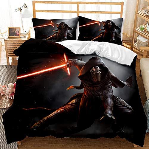 ZKDT Star Wars - Juego de cama individual (funda nórdica de 135 x 200 cm, funda de almohada de 50 x 75 cm, 3 piezas, cremallera oculta (A4,135 x 200 cm + 50 x 75 cm)