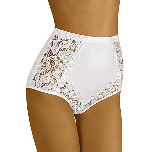 Wolbar WB412 Dame Slip Taillenmieder Hoher Bund Unterhose, Weiß,Medium