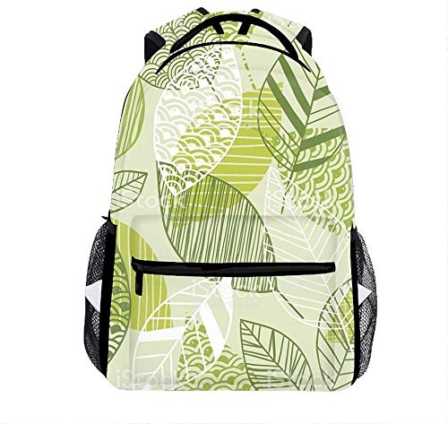 Seamless Leaf Pattern In Shades of Green Stock Vector Art Backpack for Girls with Multi-Pockets Outdoor Bookbag Daypack Travel Bag