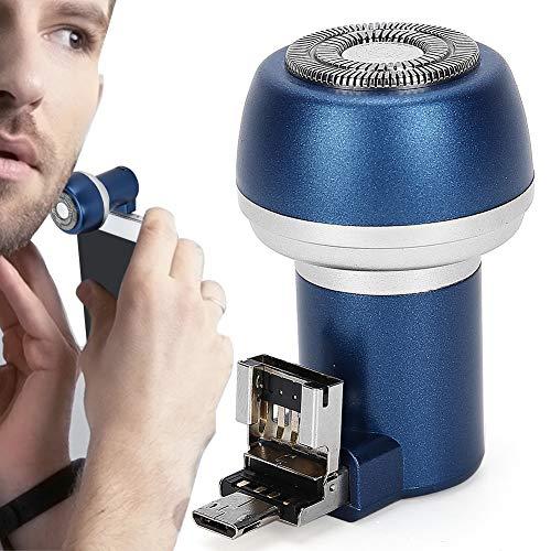 Afeitadora eléctrica recargable Afeitadora eléctrica Imán Adsorción Teléfono móvil Afeitadora de barba eléctrica Recortadora Portátil para hombres Herramienta de aseo de barba redonda(02)
