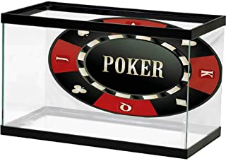 bybyhome Under Sea Fish Aquarium Poker Tournament,Casino Chip with Poker Word in Center Rich Icon Card Suits Print,Vermilion Army Green Static Cling