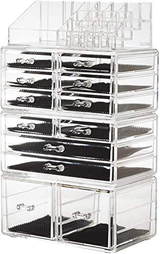 Readaeer Make up Organizer mit 12 verstellbare Ebenen, Multifunktionale Aufbewahrungsbox (Transparent)