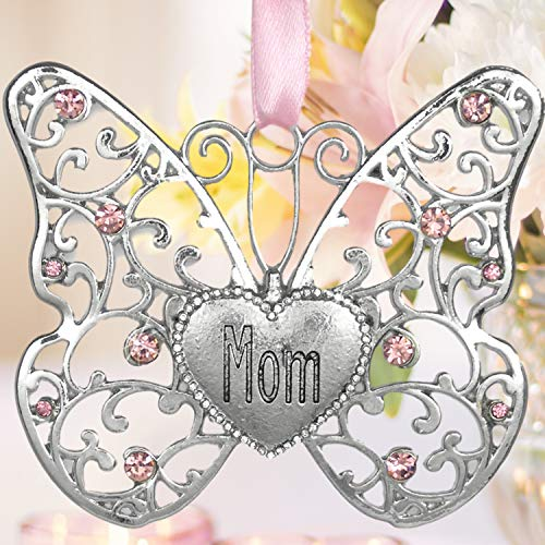 BANBERRY DESIGNS Mom Butterfly - Silver Filigree Butterfly with Pink Crystals - Engraved with Mom on...