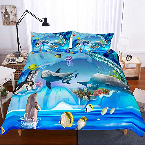Uvvseso bedding sets single twin size Super King 260 x 230 cm duvet cover girl kids bed linens 3d cartoon home textiles+2 Pillowcase 50 X 75 cm Soft Hypoallergenic Brushed Microfibre Blue sea animal