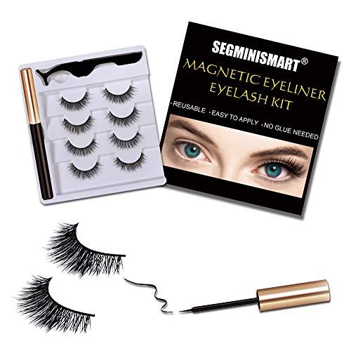 Magnetische Wimpern,Magnetic Eyeliner,4 Paar Künstliche Wimpern Natürlich Wasserdicht Falsche Wimpern Kit, 3D Falsche Eyelashes mit Magnetischer Eyeliner und Pinzette