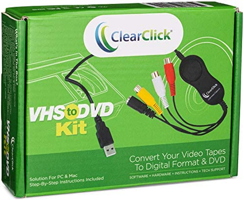 ClearClick VHS to DVD Kit for PC Mac USB Device Software Instructions Tech Support Capture Video product image