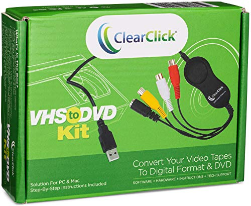 ClearClick VHS to DVD Kit for PC & Mac - USB Device, Software, Instructions, & Tech Support - Capture Video from VCR, VHS, Hi8, Camcorders, Gaming Systems