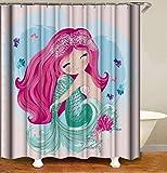 JOOCAR Design Duschvorhang, Meerjungfrau, süßes Feen-Mädchen mit rosa Haaren & grünem Fischschwanz, Cartoon, wasserdichter Stoff, Badezimmer-Deko-Set mit Haken