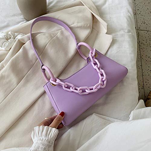 LOH chaîne Sacs à bandoulière Femmes été Couleur Unie Sacs à bandoulière Sacs à Main Sac à bandoulière, Violet, 28 cm x 15 cm x 6 cm