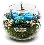 Rosen-Te-Amo, Premium Gesteck - konservierte ewige Rosen in Vase mit Lavendel-DUFT handgefertigt mit echtem Bindegrün. Infinity Rosen: Geschenke für Frauen & Deko Wohn-Zimmer