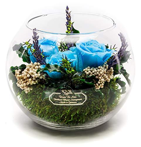 Rosen-Te-Amo, Premium Gesteck - konservierte ewige Rosen in Vase mit Lavendel-DUFT handgefertigt Deko-Foliage. Infinity Rosen sie & Deko Wohn-Zimmer