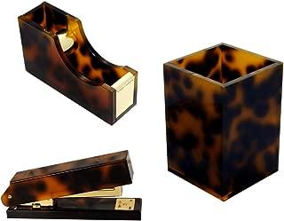 Multibey 5 in 1 Amber Office Supplies Desktop Organization Set, Tortoise Desk Organizers Home Workspace Stationery Accessories Collection Pen Holder Cup, Stapler, Adhesive Tape Dispenser