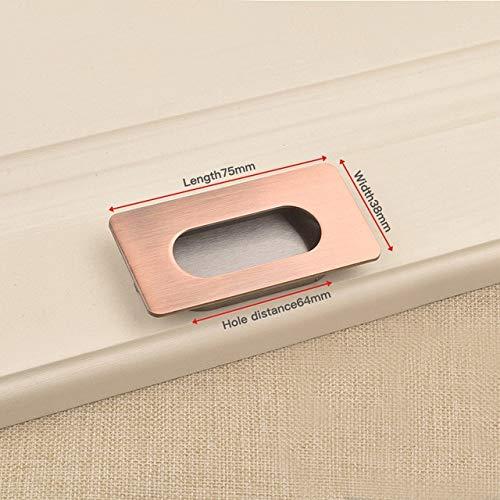 DFG Manija 2 uds manijas de Puerta Ocultas aleación de Zinc Tatami Empotrado Tirador de Puerta corredera manija de gabinete de Dormitorio manija de Muebles
