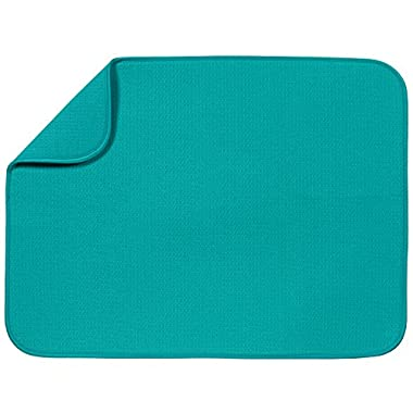S&T XL Microfiber Dish Drying Mat, 18  x 24 , Teal
