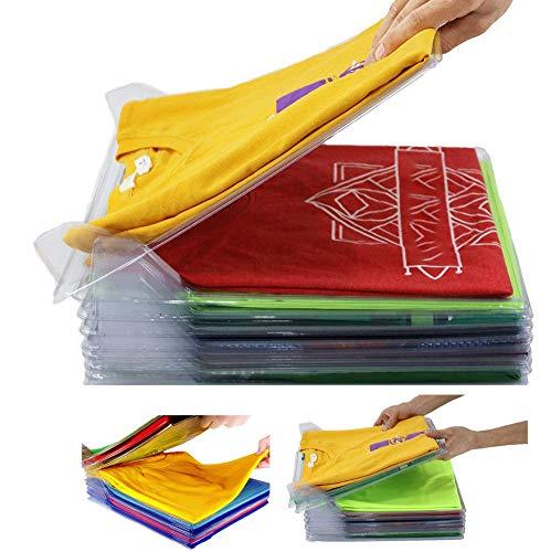 Nifogo T-shirt organizer, Closet Organizer Drawer ,T-Shirt Clothes Folder,Laundry Organizer Folding Board,Anti-wrinkle Clothes Storage Holders(Transparent 50pcs)